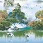 金鸡生产厂家低价直销批发订做清新大自然风景画窗帘卷帘面料