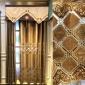 中式客厅卧室阳台镂空咖色绣花批发窗帘窗纱定做零剪